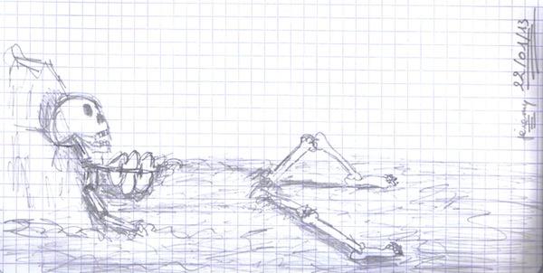 Squelette - gribouillé - crayon de papier