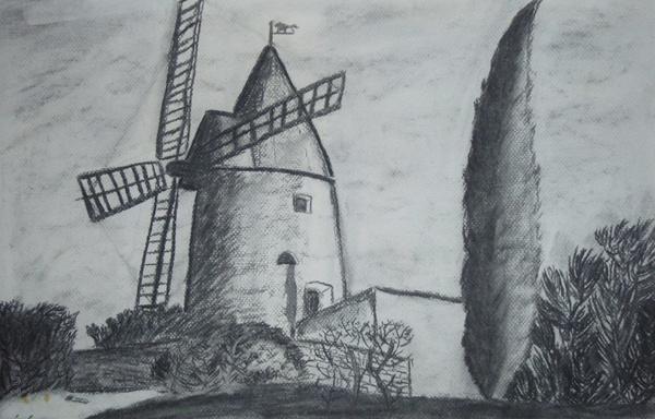 Moulin - Fusain