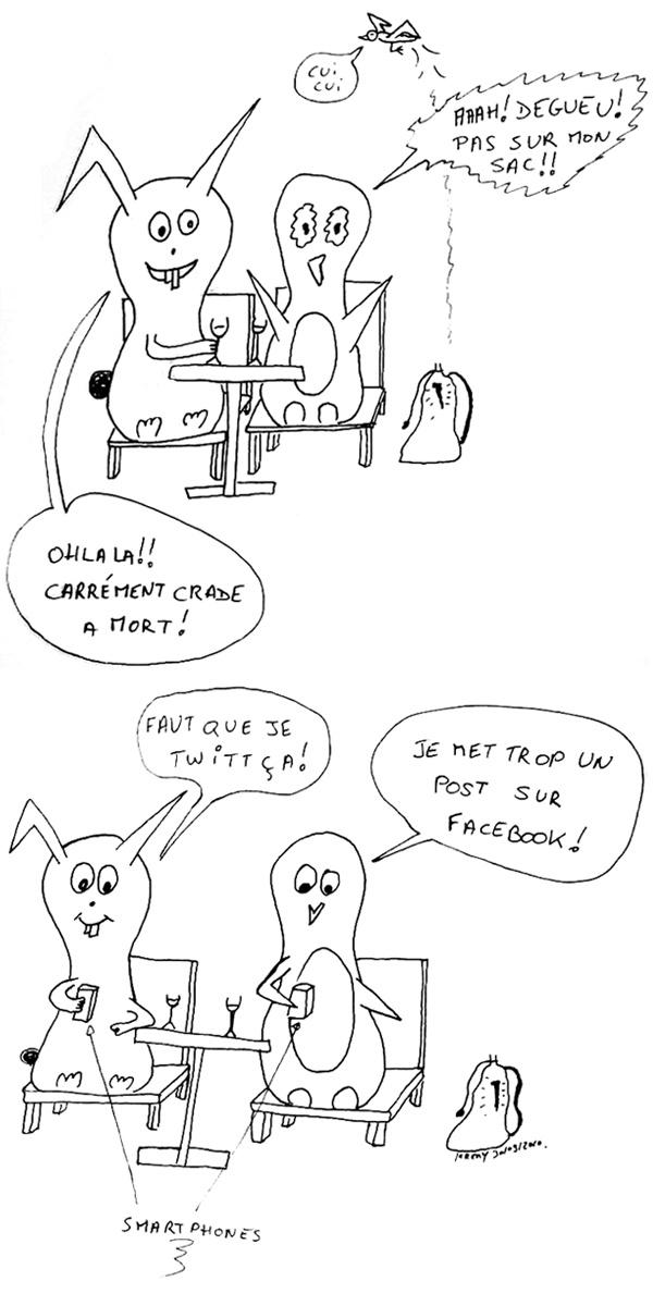 Déjection d'oiseau et réseaux sociaux