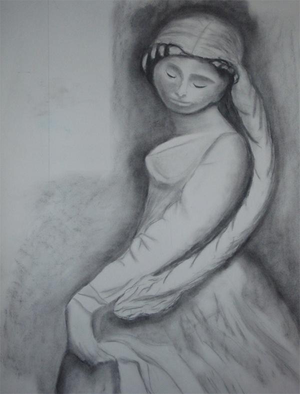 Statue - fusain